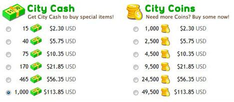 CityVille priser